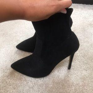 Black Suede Stiletto Pointy Heel Sock Bootie